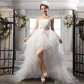 In Stock 2016 New Sweetheart High low Crytals beaded Ruffles Sheath Organza Short Wedding Dresses Bridal Gowns vestido de novia