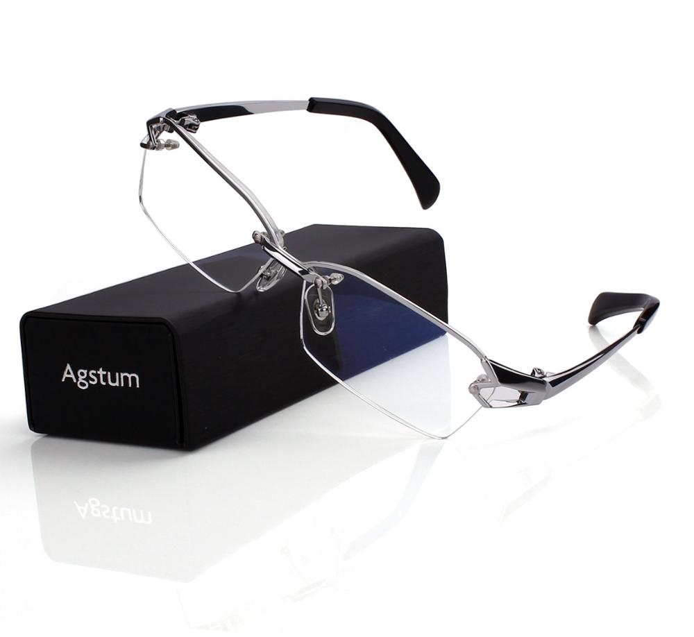 17958f1124 Agstum Pure Titanium Retro Half Rimless Glasses Frame Optical ...