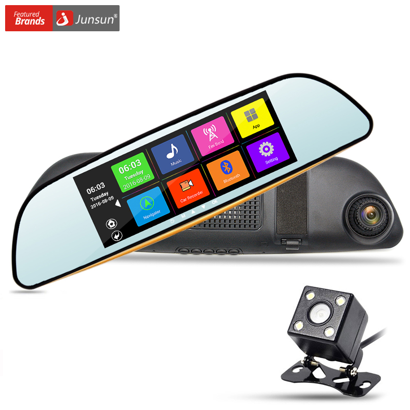 New Junsun 6 86 font b Car b font Rearview Mirror Camera Dual Lens DVR GPS