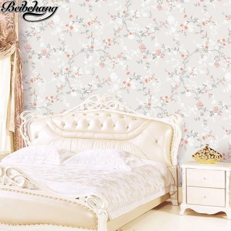 beibehang Rural small broken flower American wallpaper Bedroom restaurant sofa salon shop nail salons background wall paper beibehang roof black white square checkered 3d wall paper salon shop clothing store restaurant checkout ktv background wallpaper
