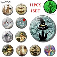 11PCS Luminous Halloween Theme Fridge Magnet Set 25MM Glass Refrigerator Decoration Black Cat Witch Zombie Magnetic Stickers