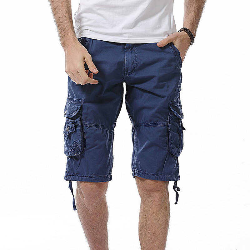 Mens Solid Multi-Pocket Cargo Shorts Casual Slim Fit Cotton Solid Camo Shorts 2018 Summer Male Casual Bermuda Masculina Brand