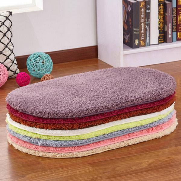 40x60cm Fashion Carpet Oval Polyester Plush Anti Slip Pad