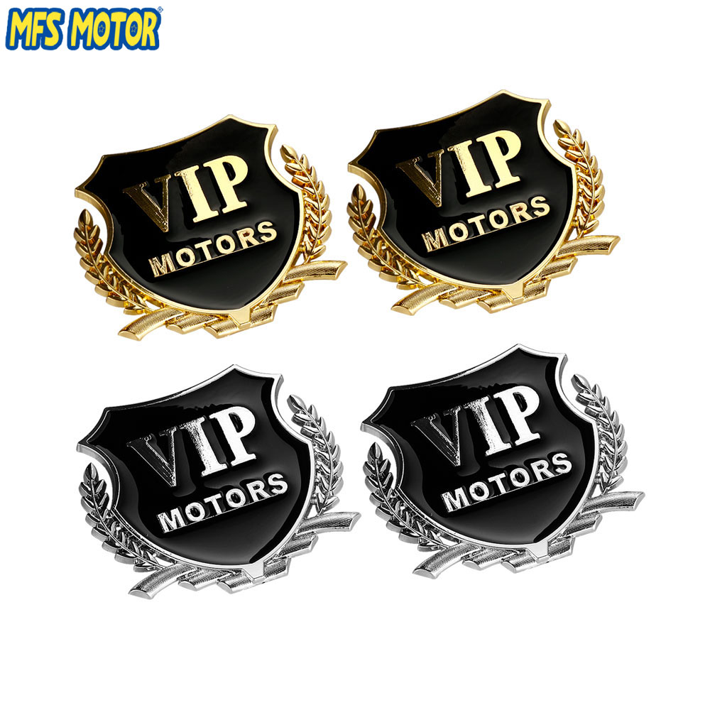 2pcs/Lot 3D Logo VIP MOTORS Metal Car Chrome Emblem Badge Decal Door Window Body Auto Decor DIY Sticker Car Decoration Styling