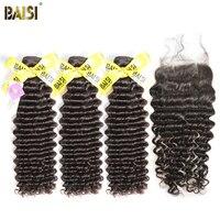 BAISI 100% Unverarbeitetes Europäisches Reines Haarverlängerungen Tiefe Welle 8-28 zoll 3 Bundles mit Verschluss Freies Verschiffen, natürliche Farbe