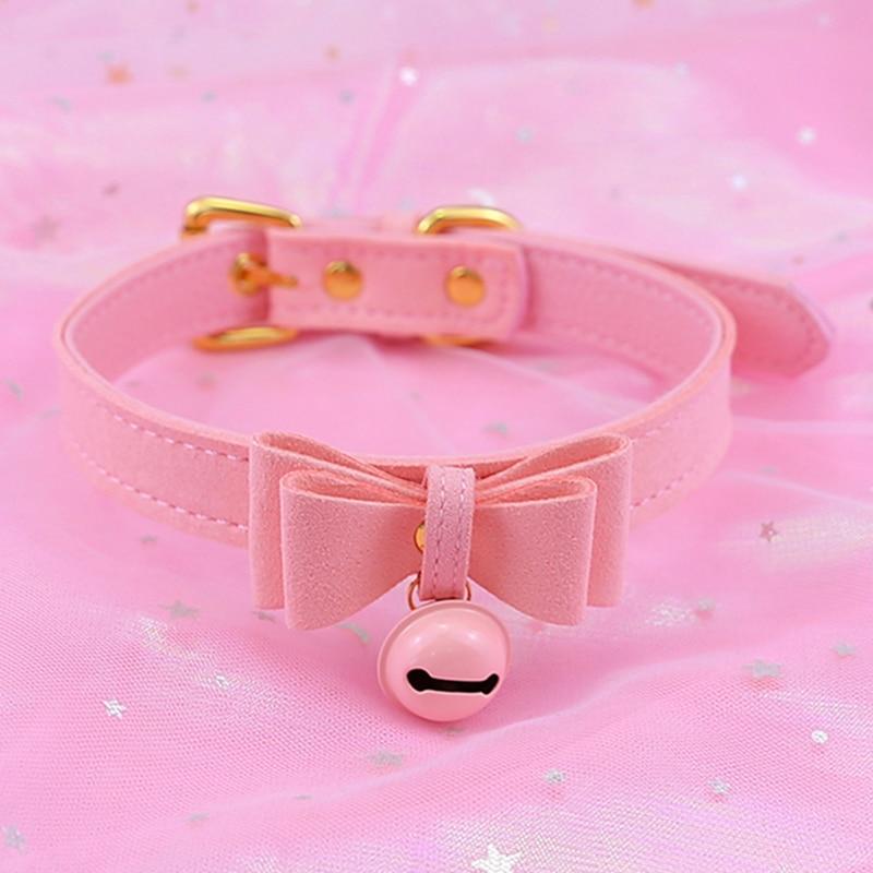 Lolita Bow Collar Bell Choker Collar Necklace Cat Cosplay Kitty Velvet Necklace