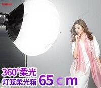Tüketici Elektroniği'ten Softbox'de Godox 65 cm küresel yumuşak top softbox Stüdyo Flaş yumuşak Işık Taşınabilir Bowen ağız CD50 T03