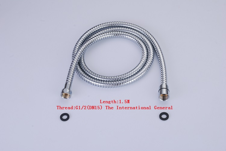 Hight Quality 1.5M Bathroom Replacement Anti-twist Shower Hose Stainless Steel Chrome Shower Head Bathroom Plumbing Hoses