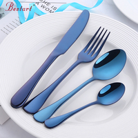 Cutlery Set Rose Gold Dinnerware Blue Silverware Black Tableware Dinner Knife Dinner Fork Forks Knives Spoons Eco Friendly