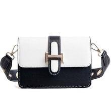 eb7f4d2cff1f1 Chic kontrast renk kadın çanta Crossbody rahat geniş kemer omuz çantaları  yüksek kalite PU deri Messenger