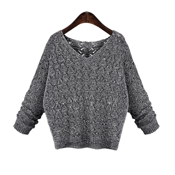 New 2015 autumn winter fashion cashmere batwing sleeve V-Neck knit pullover women sweater free Shipping