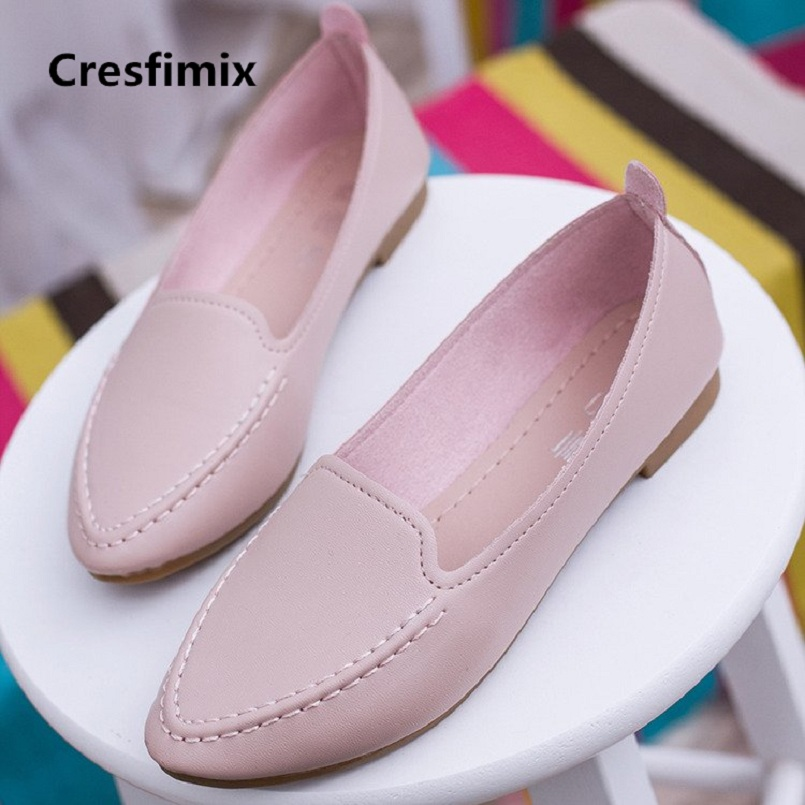 Cresfimix zapatos de mujer women 2018 fashion comfortable slip on pu leather flat shoes lady cute spring & summer flats a2430 cresfimix zapatos de mujer women fashion black office flat shoes lady leisure spring and summer slip on flats female cute shoes