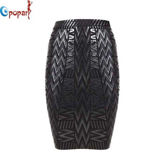 2016 women stretchy black foil bandage skirt women sexy elegant geometric pencil embossed mini short skirt drop shipping HL379