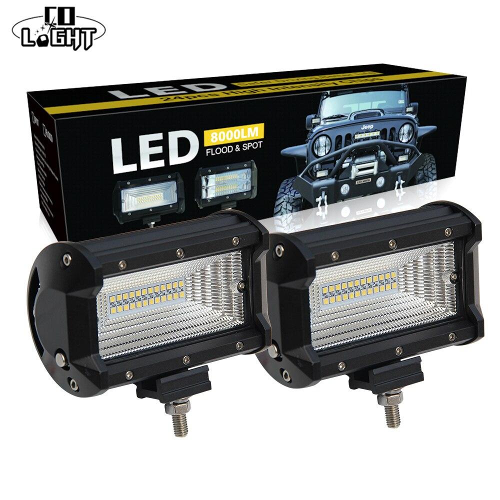 CO LIGHT 72w Led Work Light Bar 5Inch Flood 4x4 Light Bar Truck 24v for Lada