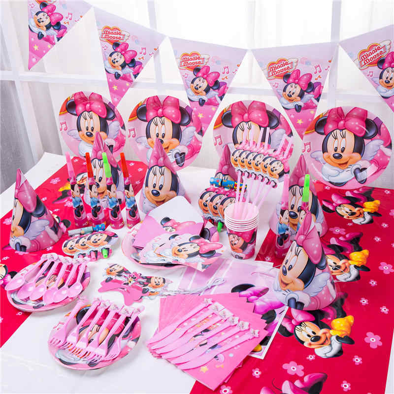 Minnie Mouse Party Decoraties voor Kinderen Wegwerp Servies Set Papier Servetten Rietjes Plaat Cup Minnie Mouse Feestartikelen