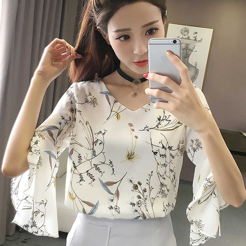 Fashion 2019 Summer Woman Short Sleeve Blouse Floral Print Casual Office Work Ladies Loose Chiffon Shirt Women Tops And Blouses