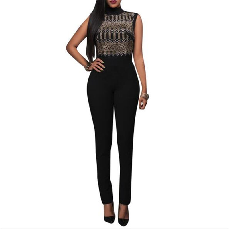 ECHOINE Women Mesh Jumpsuits Beaded Rhinestone Studded Ladies Geometric Sleeveless Jumpsuit Sexy Party Night Club Wear Rompers