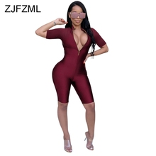 Wine Red Deep V Neck Zipper Rompers Womens Jumpsuit Short Sleeve Hollow Out Skinny Half Playsuit