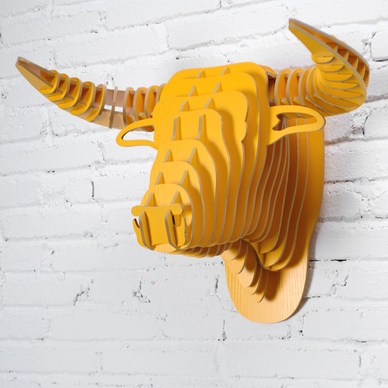 wall mounted bull head trophy wall art plaque hunt sculpture faux ...