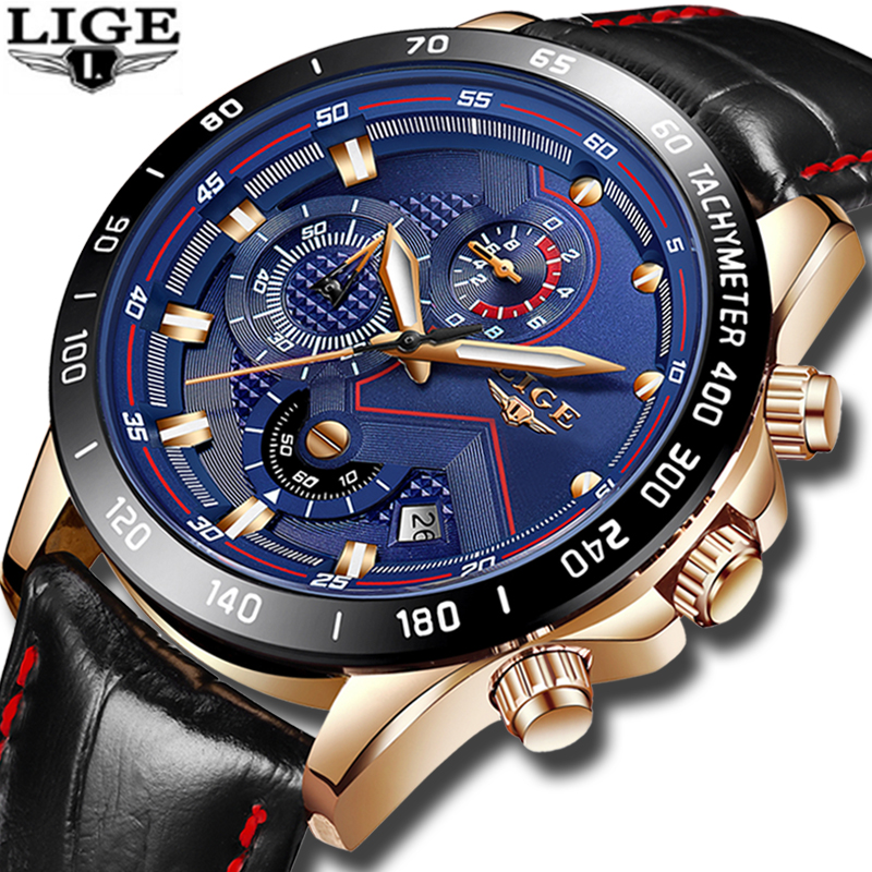 LIGE Fashion Mens Watches Top Luxury Brand Casual Waterproof Quartz Watch Men Leather Military Sports Watches Relogio Masculino цена