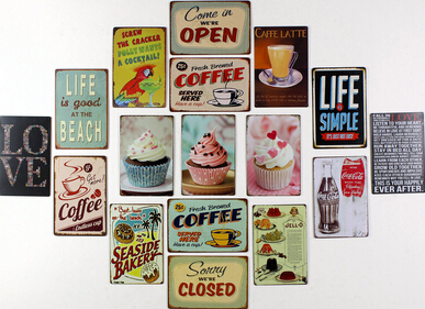 20 Pcs New Arrive Cake Dessert Cafe Bar Kitchen Tin Sign Wall Metal Painting Vintage Retro Poster Home Decor Art Decoration In Plaques Signs From