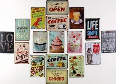 nuovo arriva cake dessert cafe bar cucina targa in metallo da parete in metallo dipinto vintage