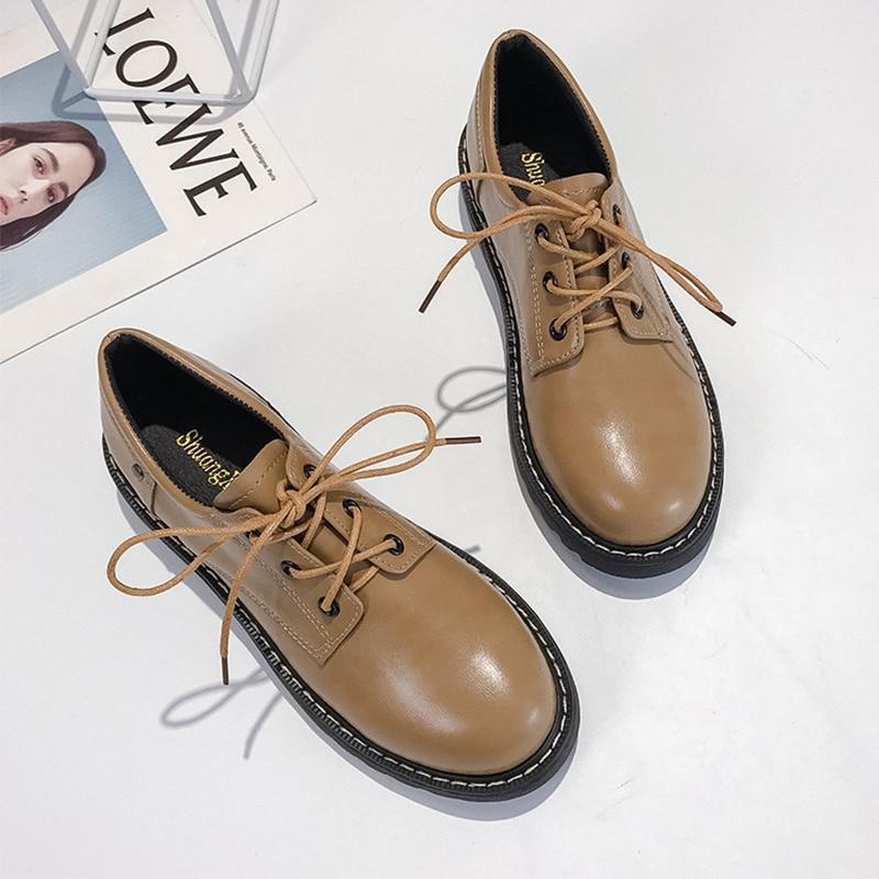 Fashion Oxford Shoes For Women Vintage Slip On Leather Flats Black Soft Platform