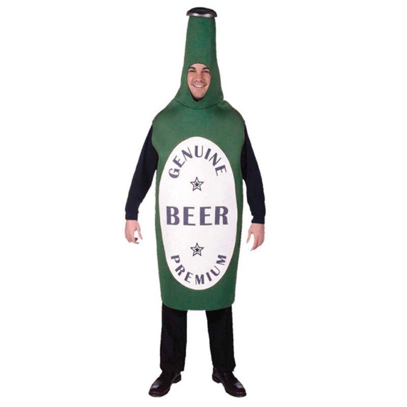 Adult men  Halloween cosplay dress party clothes green Beer bottle  costume