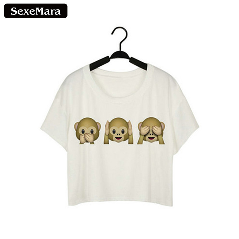 SexeMara Three Monkey Emoji Expression Partten Short Sleeve Print Dew Navel Crop Tops Sexy Fitness T-shirt Women Vest Tops F943 ...