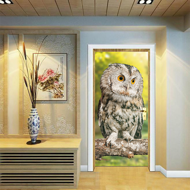 New Creative Cute Owl Sitting on Tree Branch Door Stickers Decor Wallpapers Decal Kids Child Bedroom Living Room Home Decor
