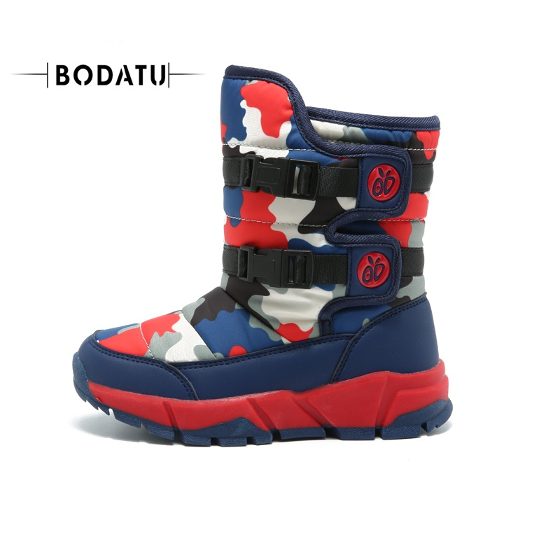 Snow Boots For Kids Winter Shoes RUBBER Boots WATERPROOF UNISEX Mid-calf Hook&loop Sewing WARM Round Toe Cool DW1717 double buckle cross straps mid calf boots