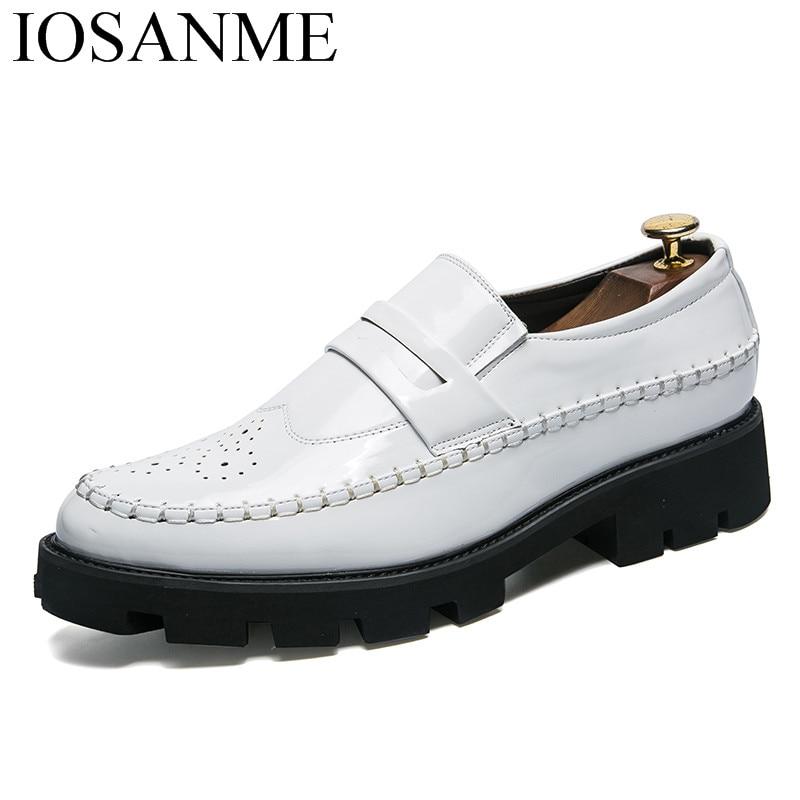 Cuir Noir Plate Marque Verni Mode Homme Chaussures Or En Pour Designer Luxe Oxford Hommes Brogue or Italien Robe blanc De forme qI1dxUxzw