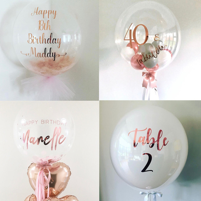 Customized 1pc Bubble Balloons Rose Gold Foil Stickers Baby Shower