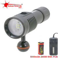 Solarstorm D02 Diving Underwater Photography Flashlight 26650 Torch Lights Video Lamp White Red LED Scuba Photo lighting lantern