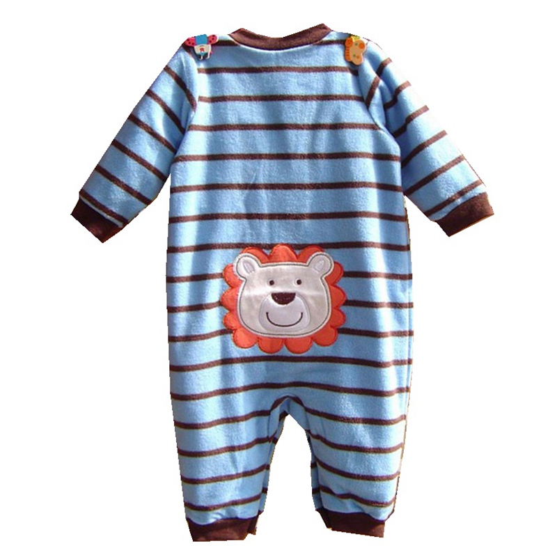 Lion The King Red Stripes Fleece Jumpsuit Baby Rompers for Boys Infantil Macacao Bebe Newborn Baby Boy Clothes Infant Clothing iyeal baby girl clothing spring 2017 bebe jeans overalls lace rompers infantil jumpsuit for toddler infant denim coveralls
