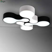 Remote Control Dimmable Novelty Bowling DIY Led Ceiling Chandelier Modern Minimalism White And Black Lustre Acrylic