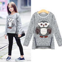 Sweatshirt For Girls Kids Toddler Big Girls Pullover for Winter Autumn 2018 Clothes Cute Owl Warm Fleece Lined with Zipper