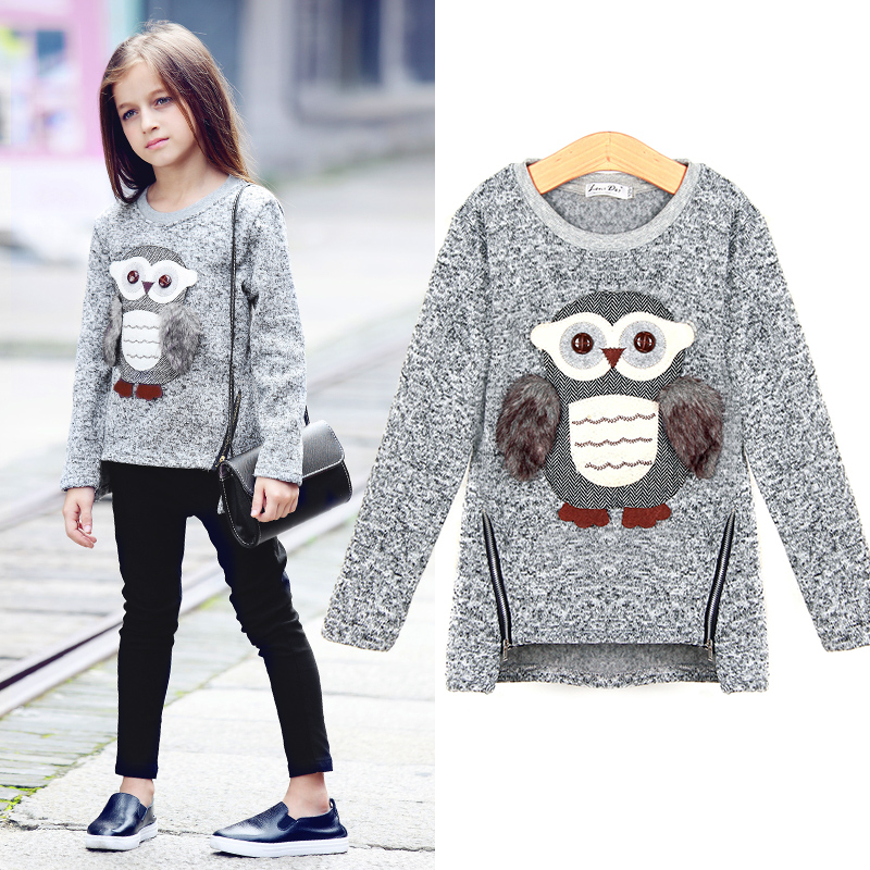 2018 New Arrival Big Girls Kids Coat Jackets Cartoon Cute Owl Casual 3-16y Old Girl Boy Clothes Lining Fleece For Autumn Winter
