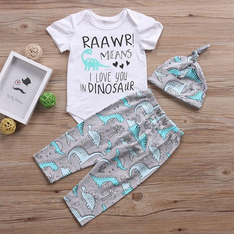 Newborn Baby boys girls clothes 3Pcs Toddle girls clothing Tops Romper DINOSAUR Pants Hat RAAWR Letter Babys set roupa infantil