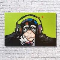 Orangutan Headphone Abstract Animal Hearing Music Canvas Art Free Shipping Wall Pictures Livingroom Decor