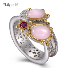 Latest Fashion ring Oval pink opal stones Luxury Jewellery Silver+Gold 2 Tone plated Pretty Finger rings for women