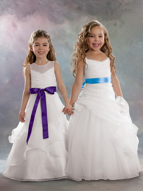 164c30a3818 White with cherry ribbon pleated tiered organza fantasy kids girls princess  sheer neckline flower girl dresses size 2-14 long