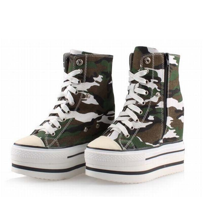 women shoes platform high heels woman camouflage thick bottom casual shoes zapatillas deportivas zapatos mujer tenis feminino цена и фото