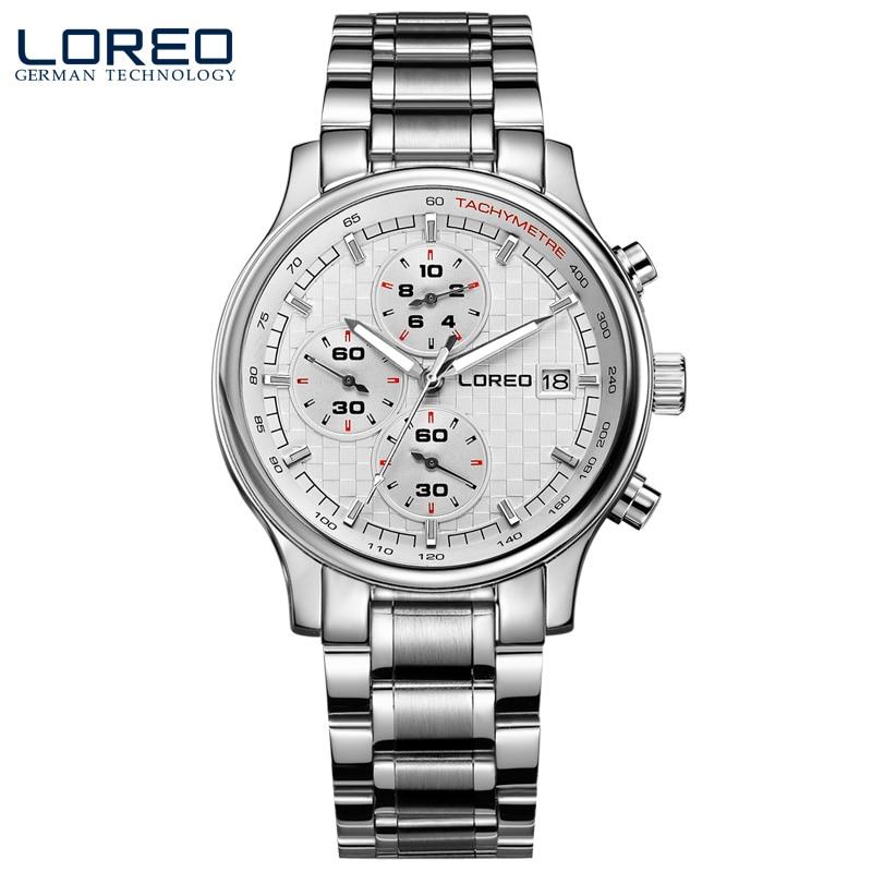 ФОТО LOREO quartz sapphire water resistant 5ATM white stainless steel luminous Calendar Chronograph