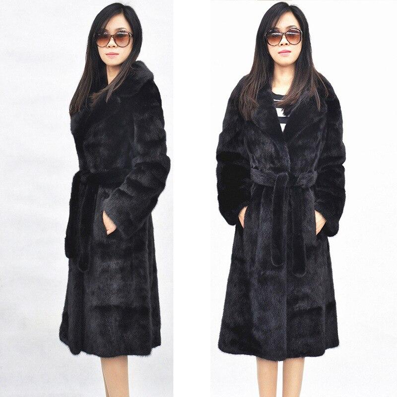 X-LONG Большие размеры S-5XL женщины искусственной пальто с мехом Тонкий Теплый Повседневная отложной воротник с поясом искусственная Меховая к...