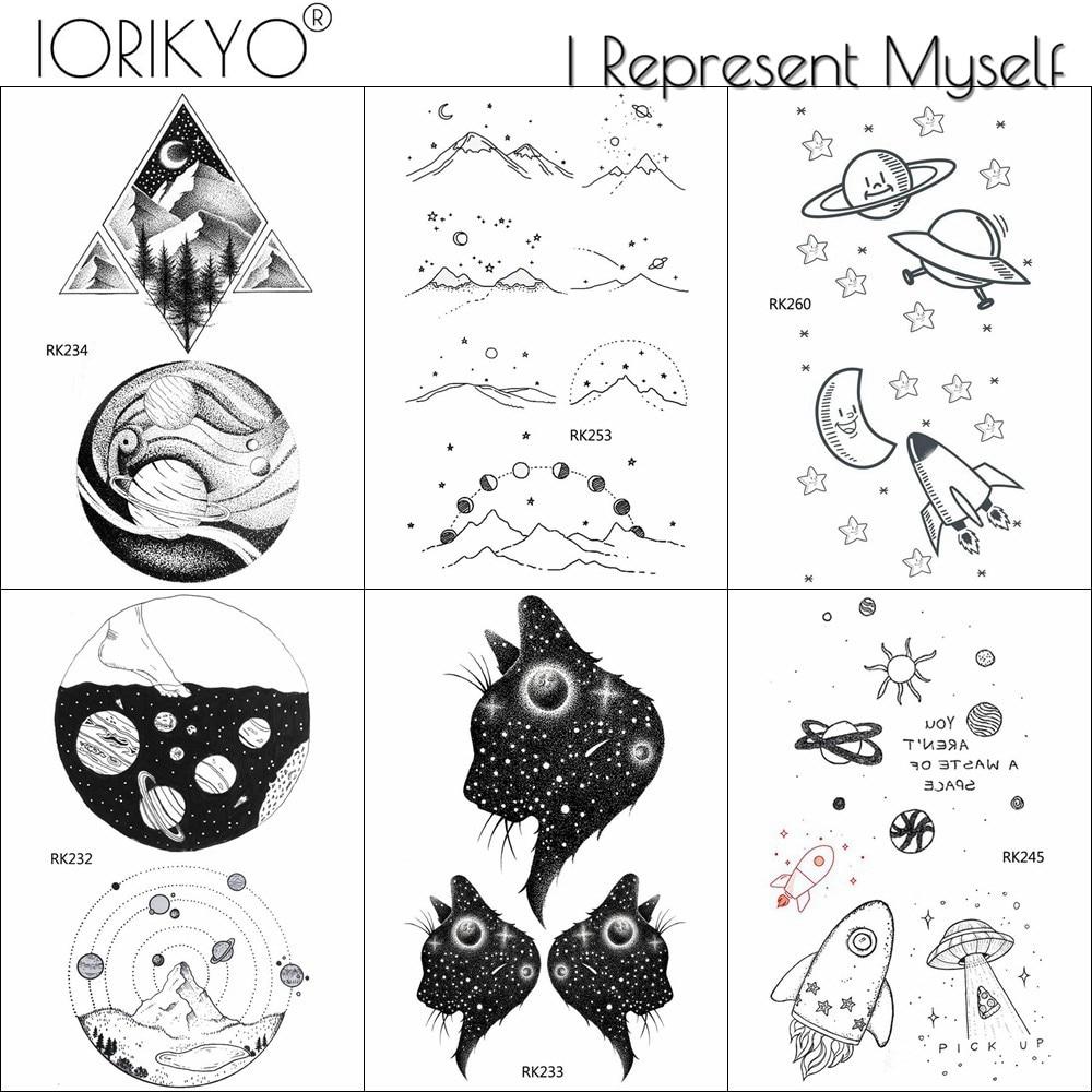 IORIKYO Black Small Star Kids Tattoo Stickers Women Body