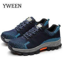YWEEN Mesh Steel Toe Caps Safety&Work Shoes Men Fashion breathable Non-slip Platform Anti-puncture Tooling Boot Mens