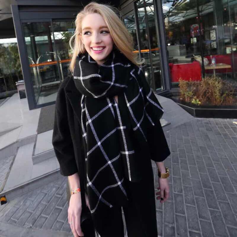 202x74cm Women Warm Large font b Tartan b font Check Plaid Scarf Shawl Blanket Wraps Pashmina