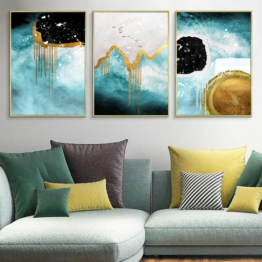 Birds Canvas Print Paintings Light Luxury Wall Art Abstract Mountain Picture  Watercolor Blue and Gold Color Poster Home Decor