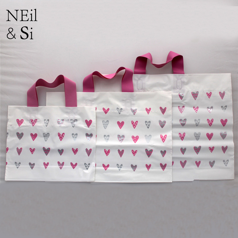 Handle Gift Bag Plastic Cute Heart Wedding Party Favor Candy Shopping Mall Bags Pink White Bottom Free Shipping